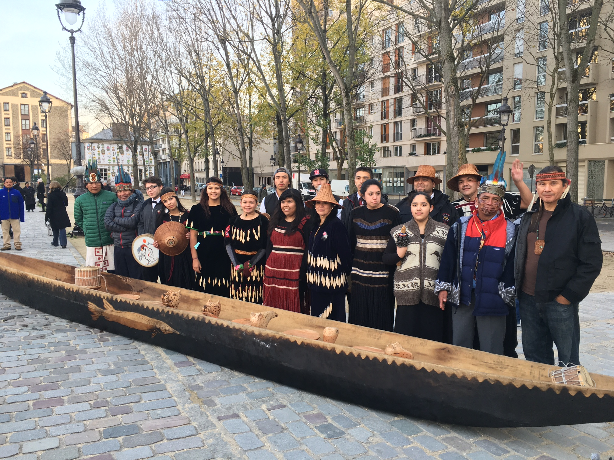 "Indigenous Leaders from around the world gathered on the Seine River for a proclamation of the first regional marine sanctuary off Panama, inspired by the Salish Sea Marine Sanctuary. This event was one of the ""Paddle to Paris"" events during the COP 21 Summit."