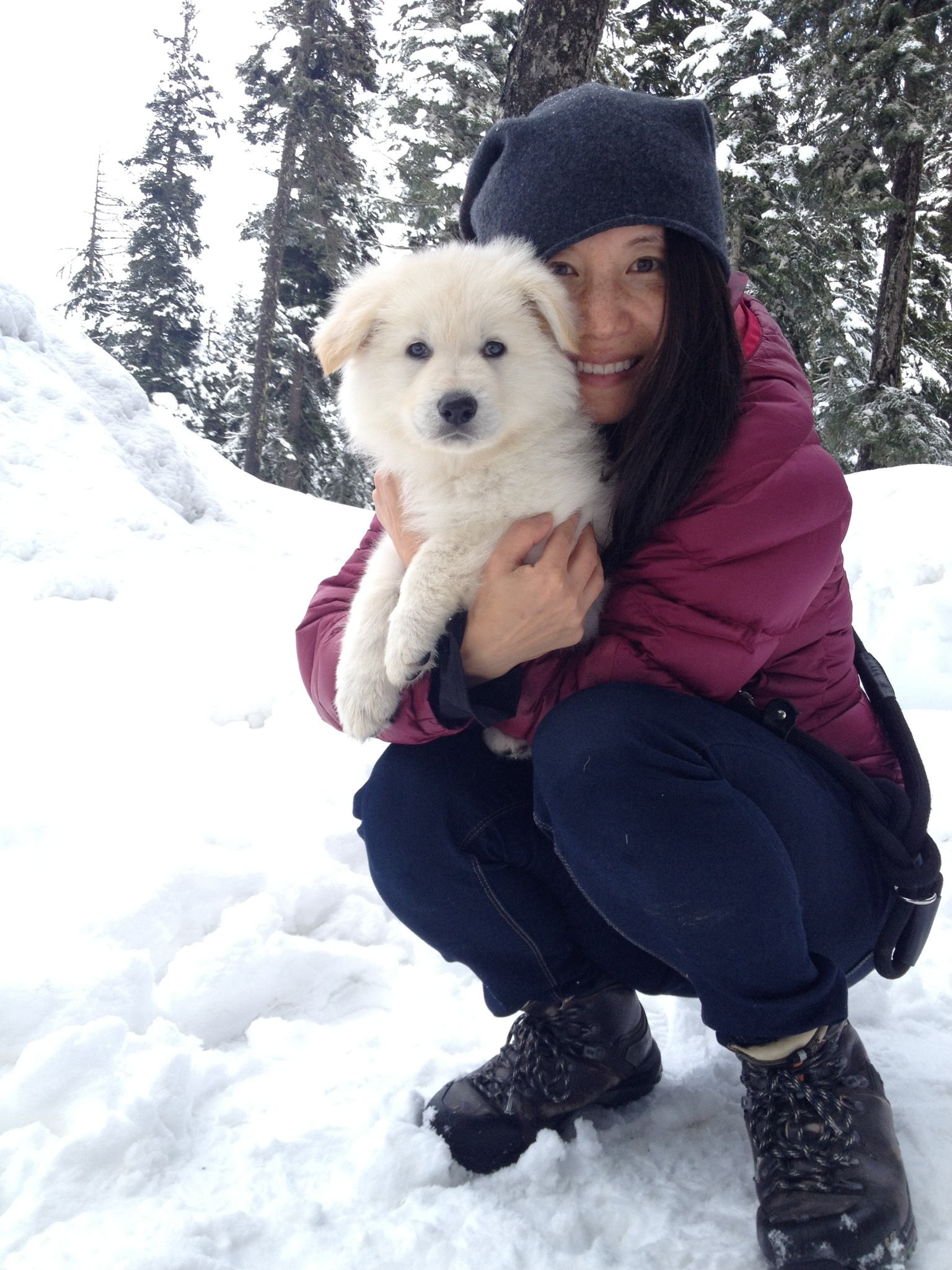 Junga Subedar with Norbu, one of her wolf pack. photo: Edward Subedar