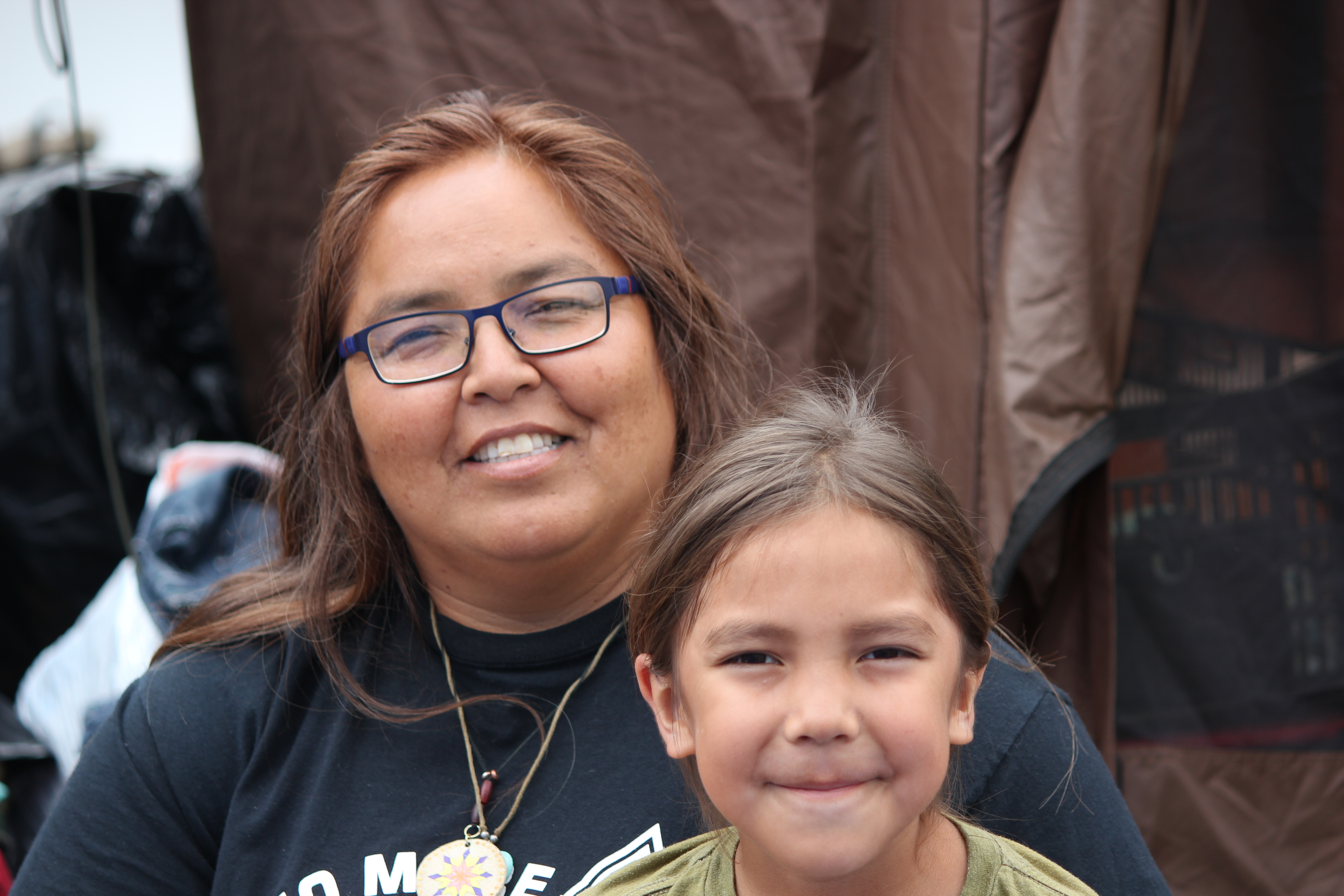 Joely Big Eagle-Kequahtooway and her son at the Sacred Stone Camp in North Dakota.
