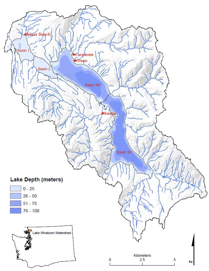 Lake Whatcom watershed and sub-basins (Matthews et al., 2017)